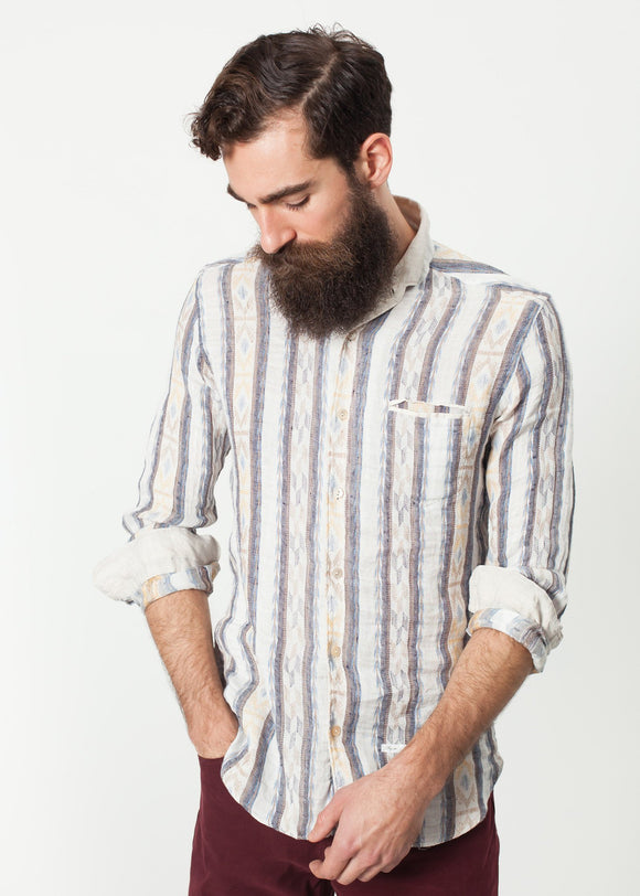 Linen Western Shirt in Beige/Blue