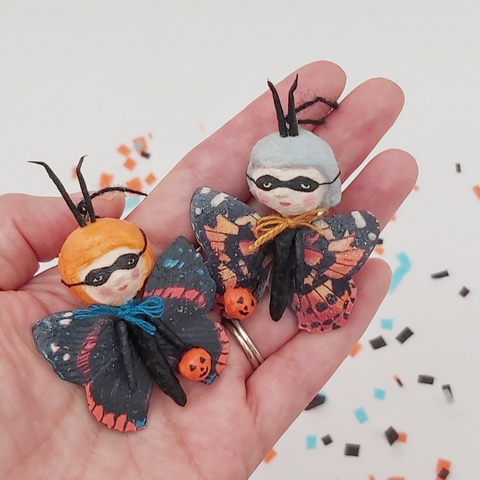 spun cotton butterfly girl ornaments, held in hand
