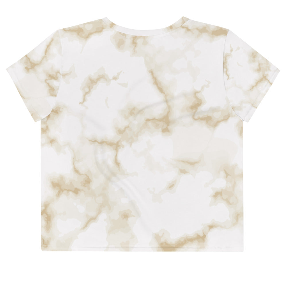 Pastel Marble Yellow Aero Crop T-Shirt