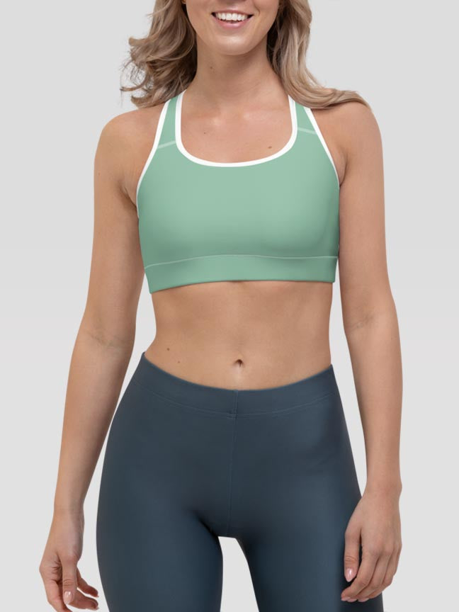 Pastel Green Clash Sports Bra