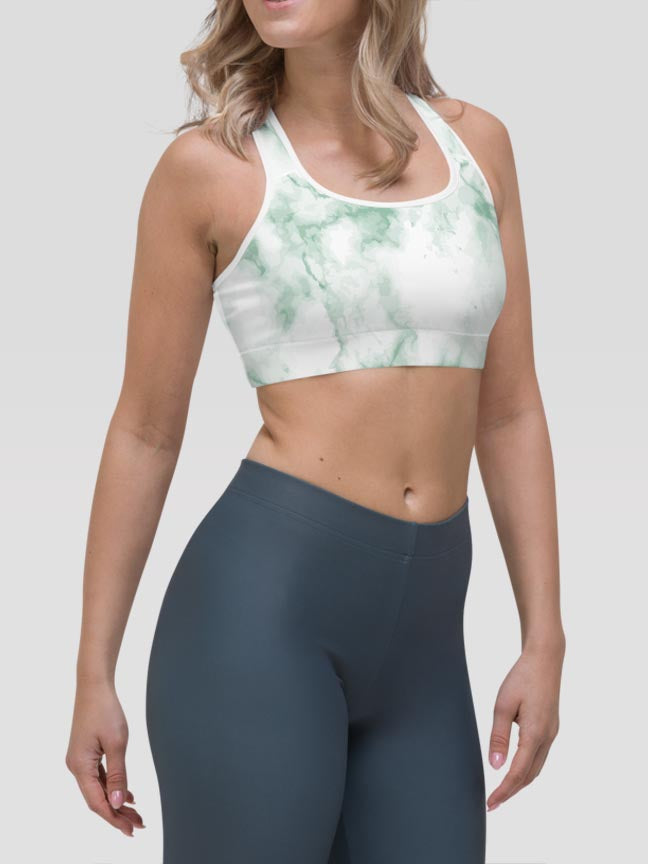 Pastel Marble Green Alpha Padded Sports Bra