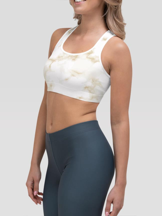 Pastel Marble Yellow Clash Sports Bra