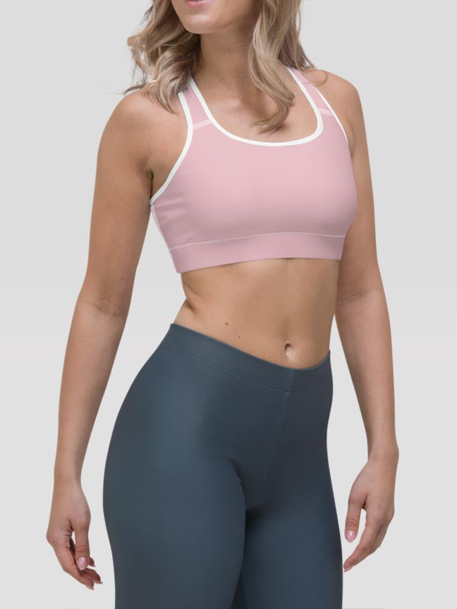 Pastel Pink Clash Sports Bra