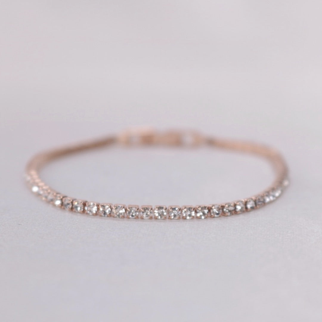 Thin || Rose Gold Clear Tennis