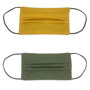 Mustard Yellow/ Olive Green Double Sided Pleated Face Mask