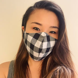 Black Checkers Face Mask with Filter
