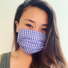 Load image into Gallery viewer, Blue Gingham Face Mask
