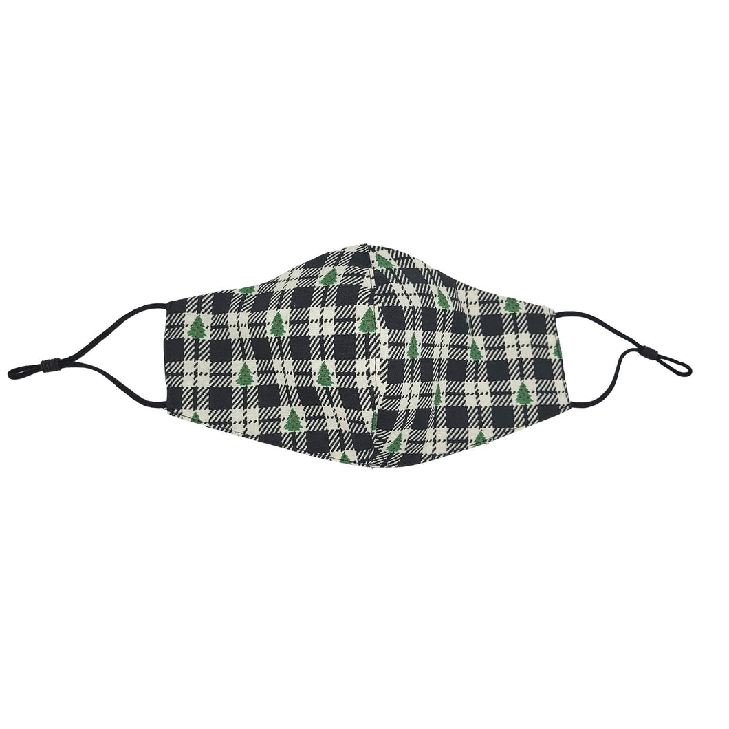 Christmas Tree Black Plaid Face Mask with Filter