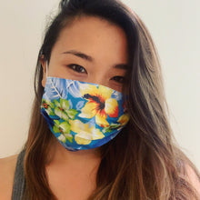 Load image into Gallery viewer, Hawaiian Blue Floral Face Mask