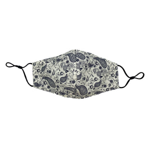 Ivory/Navy Paisley Face Mask with Filter