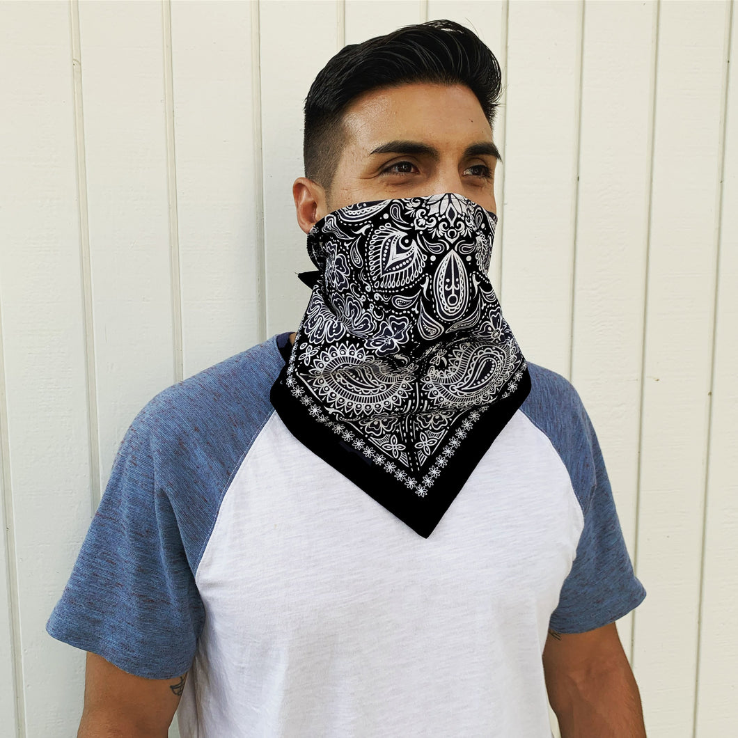 Black Bandana With Filter & Nose Wire