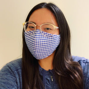 Blue Gingham Face Mask with Filter