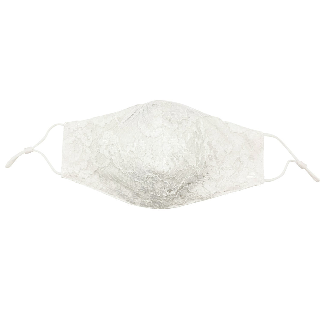 Off-White Bridal Lace Face Mask with Filter