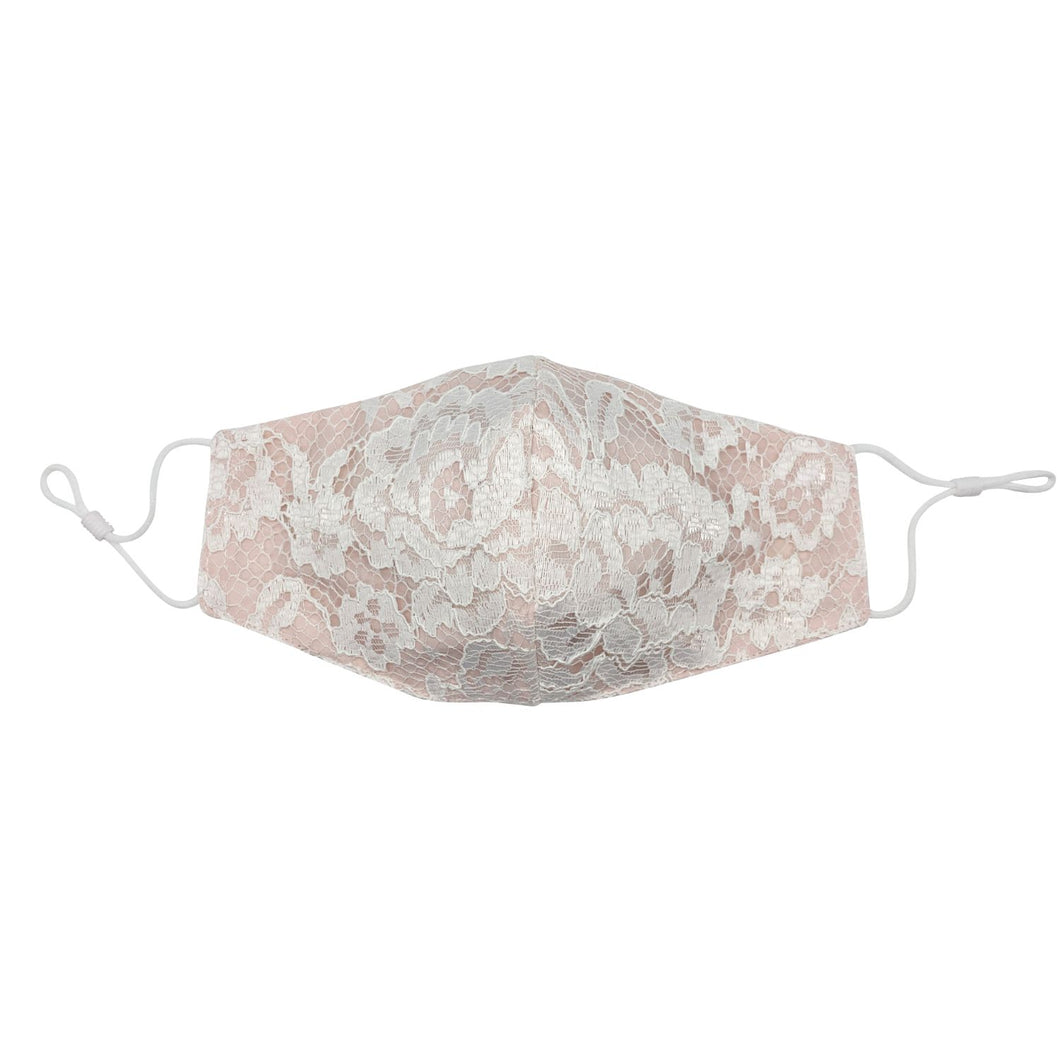 Bridal Lace Blush Pink Face Mask with Filter