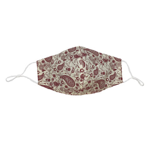 Ivory/Burgundy Paisley Face Mask with Filter