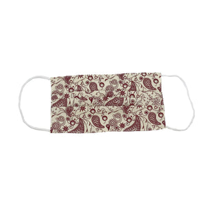Ivory/Burgundy Paisley Face Mask