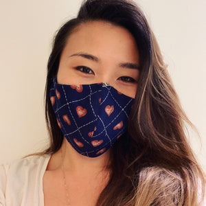 Navy Heart Face Mask with Filter