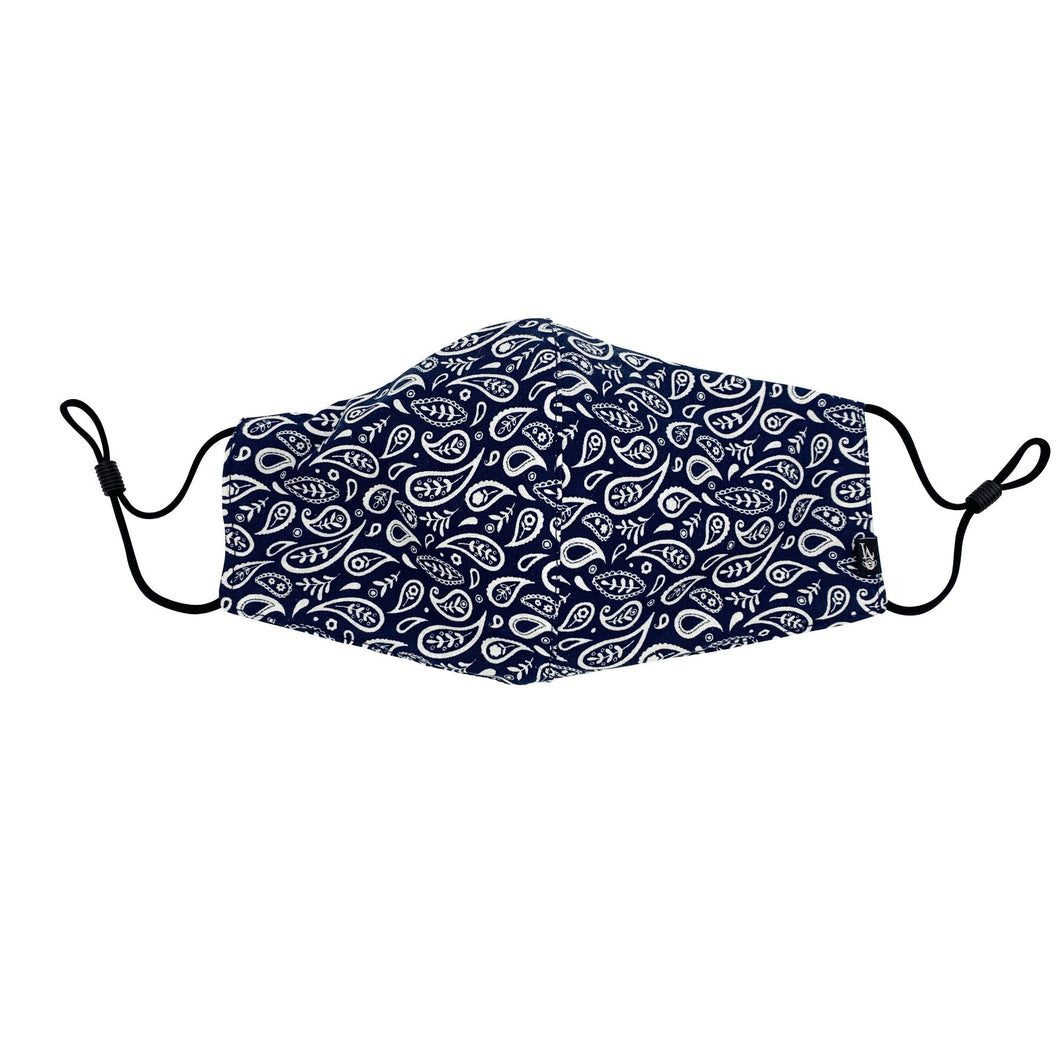 Navy Paisley Face Mask with Filter