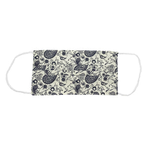 Ivory/Navy Paisley Face Mask