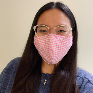 Pink Gingham Face Mask with Filter