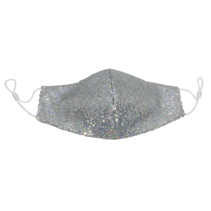 Silver Sequin Face Mask with Filter