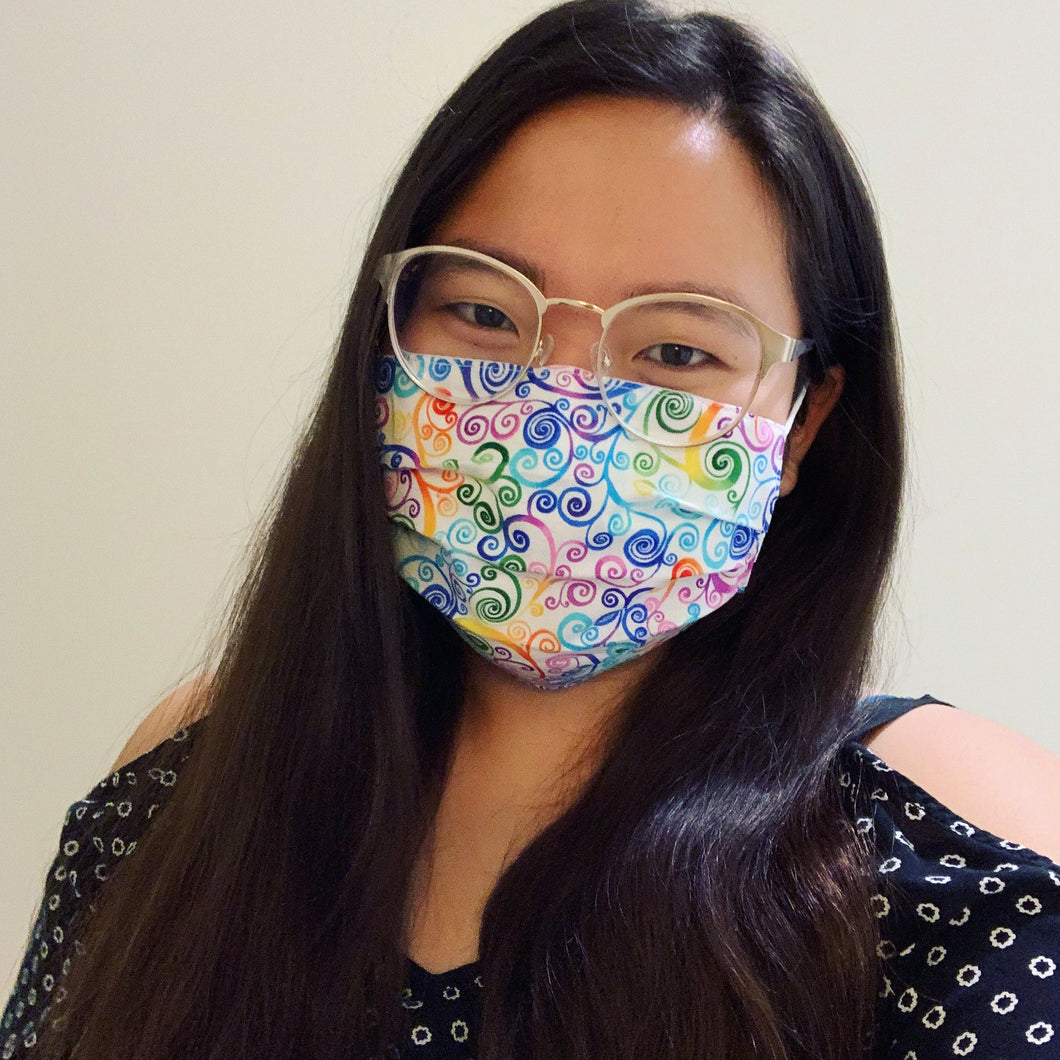 White Rainbow Scroll Face Mask