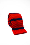 USA themed neck tie. Red and dark blue knitted tie.