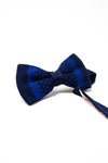Dark blue and light blue bow tie. Knitted bow tie.