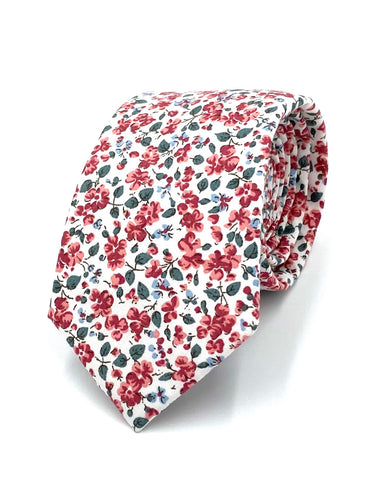 Scarlet Blooms Wedding Tie