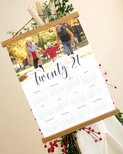 Retro Calendar with Oak Magnetic Hanging Strips