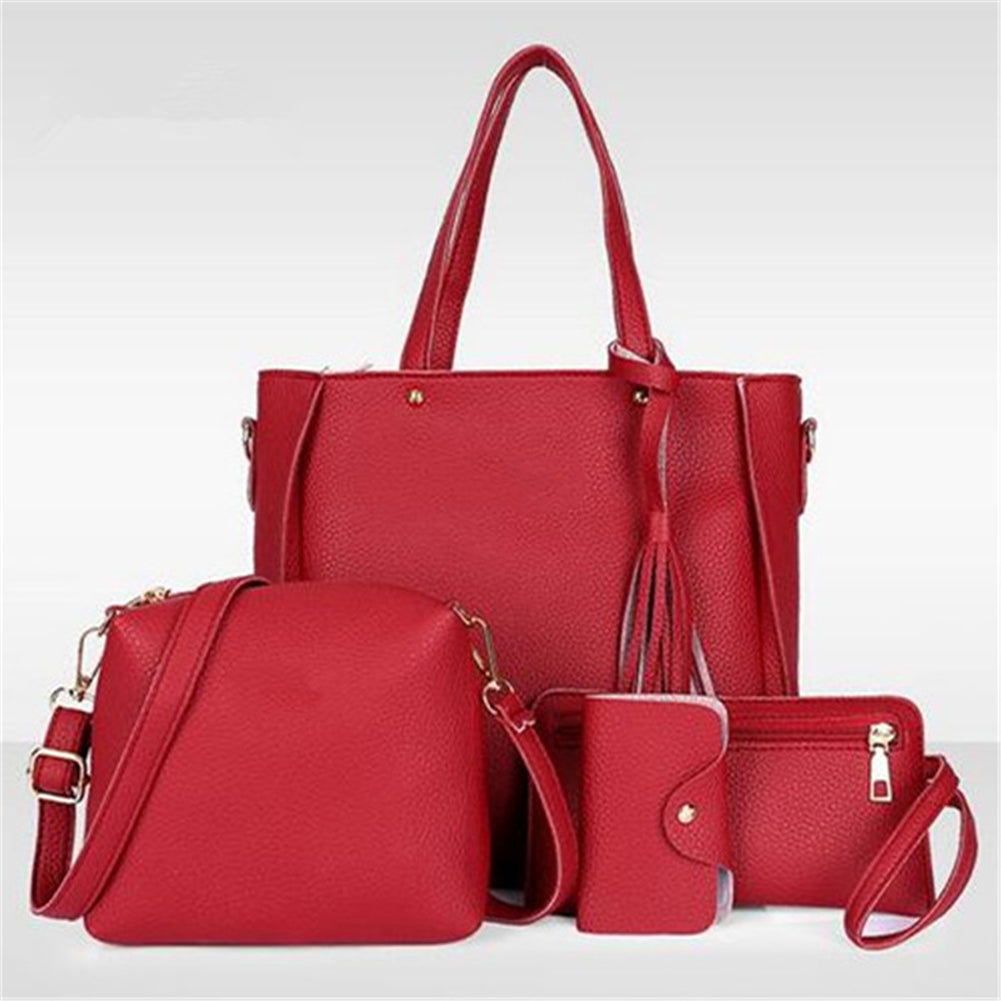 4Pcs/Set Women Faux Leather Handbag Shoulder Bag Tote Purse Messenger Clutch-Handbags-SJI Shop