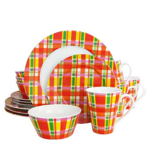 Oui by French Bull Multicolor Plaid 16 Piece Round Porcelain Dinnerware Set-Dinnerware-SJI Shop