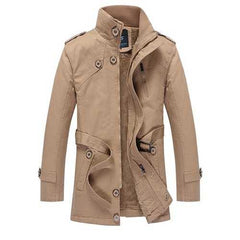 Mens Classic Fashion Stand Collar Thick Outdoor Coat Casual Solid Color Jacket-Men Outwear-SJI Shop