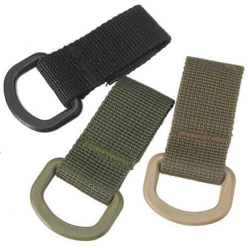 Military Tactical Carabiner Nylon Strap Buckle Hook Belt Hanging Keychain D-shaped Ring Molle System-Sports & Outdoor-SJI Shop