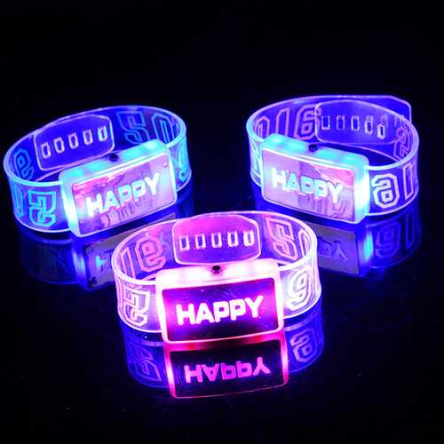 2016 Happy LED Wristband Bracelet Glowing Happy Wristband Dance Party Decoration-Party Supplies-SJI Shop