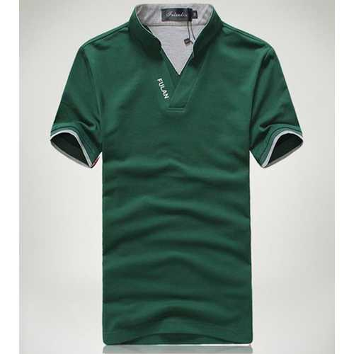 Solid Color Classic Color Splicing Collar Golf Shirt-Men's Clothing-SJI Shop