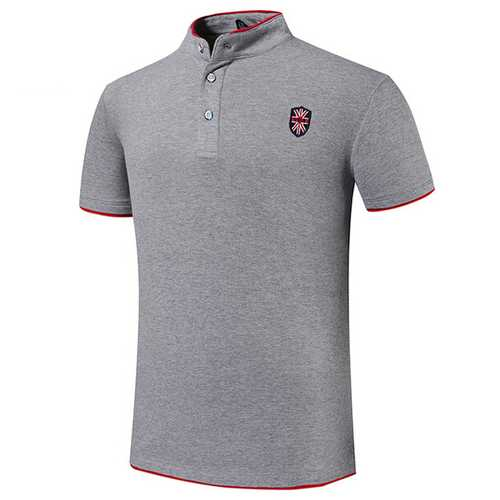 Mens Embroidery Solid Color Stand Collar Button Golf Shirt-Men's Clothing-SJI Shop