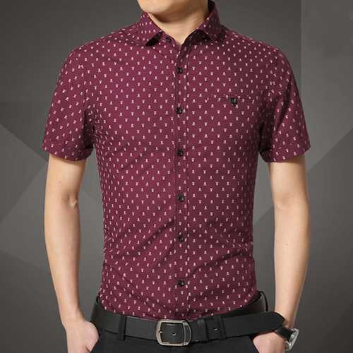 Mens Fashion Casual Slim Fit Skull Printing Turn-down Collar Short Sleeve Dress Shirt-Men Shirts-SJI Shop