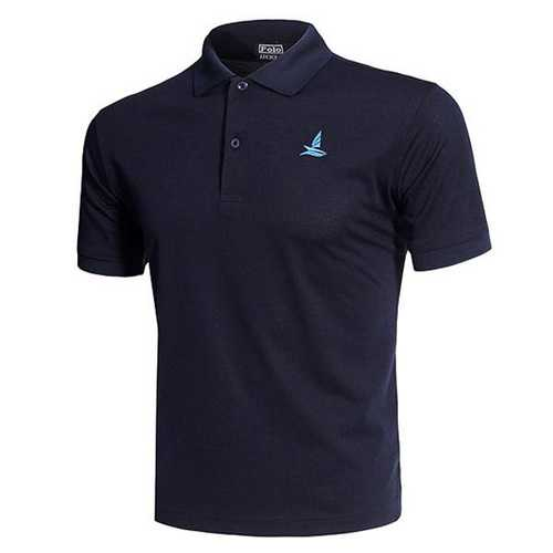 Casual Solid Color Embroidery Quick Drying Golf Shirt-Men's Clothing-SJI Shop