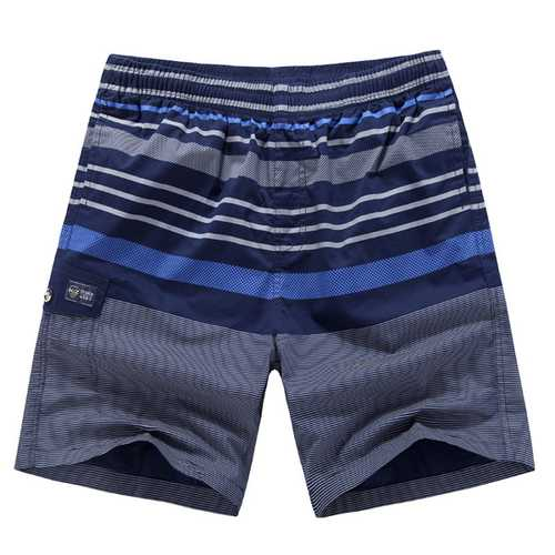 Mens Summer Cotton Stripe Print Knee Length Shorts Casual Swimming Beach Shorts-Men Beachwear-SJI Shop