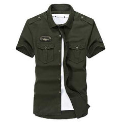 Men Plus Size Double Pocket Turn-down Collar Short Sleeve Cotton Casual Outdoor Shirt-Men Shirts-SJI Shop