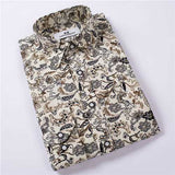 Floral Printing Spring Autumn Fashion Casual Long-sleeved Men Cotton Shirt S-3XL-Men Shirts-SJI Shop