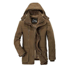 Mens Thick Fleece Winter Hooded Outdoor Solid Color Jacket-Men Outwear-SJI Shop