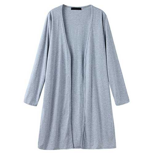 Women Solid Color Long Sleeve Loose Casual Cardigans-Women Outwear-SJI Shop