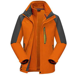 Mens Outdoor Sports 2 in 1 Waterproof Windproof Breathable Fleece Hooded Jacket-Men Outwear-SJI Shop
