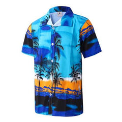 Beach Holiday Breathable Quick Drying Coconut Tree Printing Loose Lounge Short-sleeved Men Shirts-Men Shirts-SJI Shop