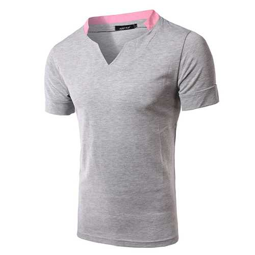 Mens Summer Splicing V-neck Collar T-shirt Casual Solid Color Short Sleeve Tees-Men's Clothing-SJI Shop