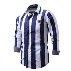 Stripe Printing Business Fashion Cotton Soft Casual Long Sleeve Men Dress Shirts-Men Shirts-SJI Shop