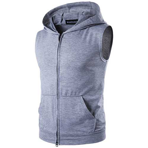 Summer Personality High Street Big Pocket T-shirt Casual Zip Hooded Vest Mens Sweater T-shirt-Men's Clothing-SJI Shop