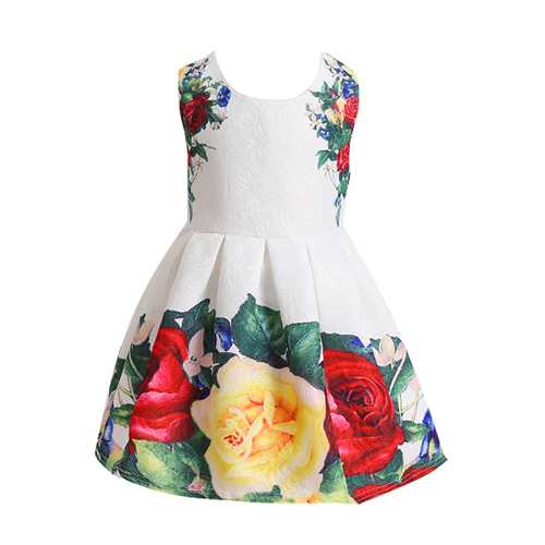 Kid Girls Flowers Printed Sleeveless Princess Dress-Girls Clothing-SJI Shop